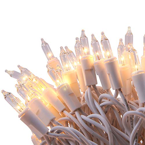 LIDORE 100 Counts Bright Clear Mini Christmas Tree Lights. White Wire String Light for Decoration. End to End Connection