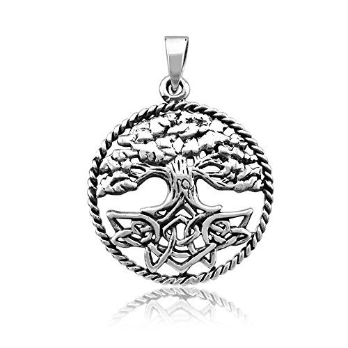 - WithLoveSilver Solid Sterling Silver 925 Charm Round Spiral Celtic Tree of Life Pendant Cut Out