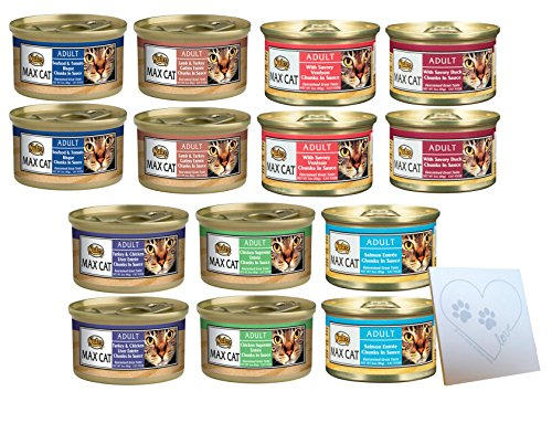 Nutro Max-Cat Huge Variety Pack - All Seven Flavors: Chicken Supreme, Lamb, Seafood & Tomato Bisque, Salmon, Savory Duck, Venison, Turkey & Chicken and 1 Pet Paws Notepad (3oz Each, 14 Cans Total) ()