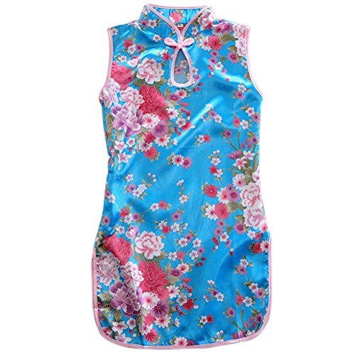 Qiancheng Fashion Lovely Children Print Peony Princess Dress (Meaning Peony)