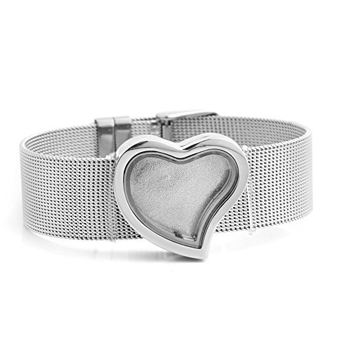Corykeyes Metal Mesh Glass Bangle Living Memory Locket Bracelet For Floating Charms (30mm Round Shaped)