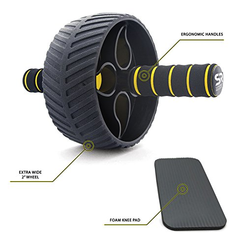 Sweet Sweat Portable Ab Roller, Abdominal Exercise Wheel for Core Strength Training | with Knee Pad