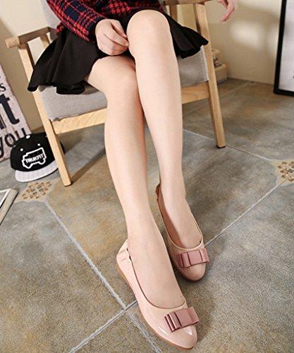 Minetom Damen Elegante Schuhe Bequeme Omelett Schuhe Mit Bowknot Flache Ferse Geschlossene Ballerinas Schuhe Aprikose