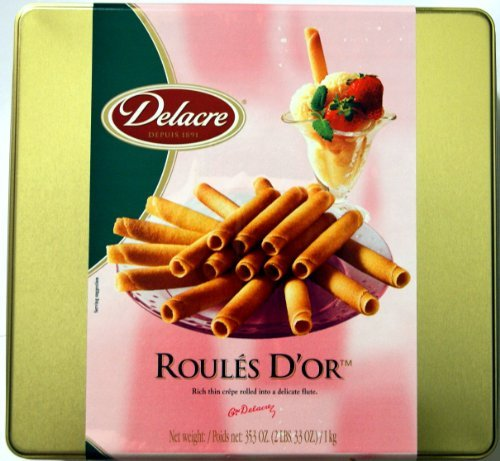 Delacre Biscuits (Delacre Exquisite European Biscuits ROULES D'OR Rich Thin crepe rolled into a delicate flute Tin Box Net Weight 35.3 OZ (1000 g) by Delacre)