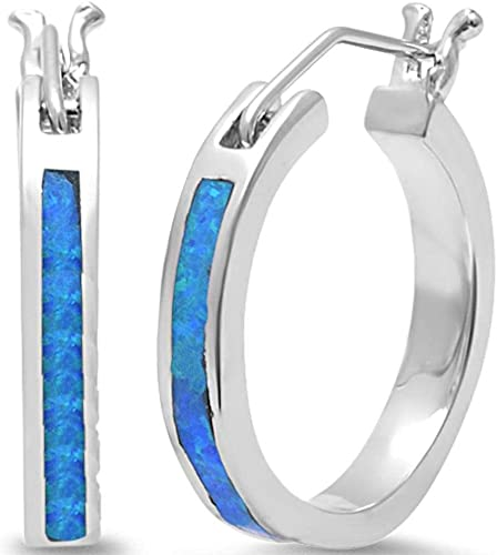 Large White Fire Opal Round Hoop .925 Sterling Earrings