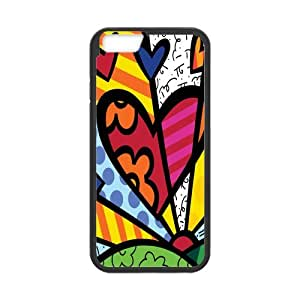 Fayruz- Personalized Protective Hard Textured Rubber Coated Cell Phone Case Cover Compatible with iPhone 6 & iPhone 6S - Romero Britto Cartoon F-i5G973