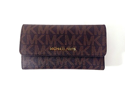 Michael Kors Jet Set Travel Large Trifold Leather Wallet Brownacorn
