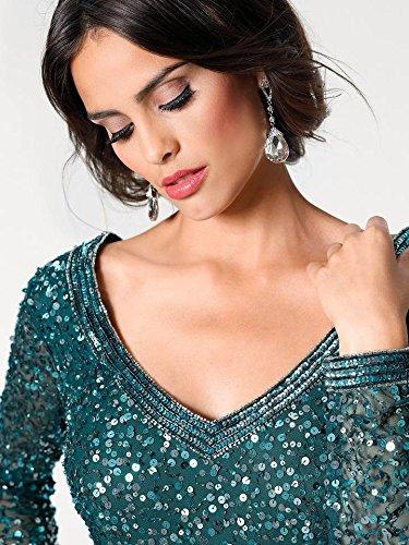grün Rückenausschnitt Abendkleid Pailletten Brooke Ashley smaragd TpTIwaHFq