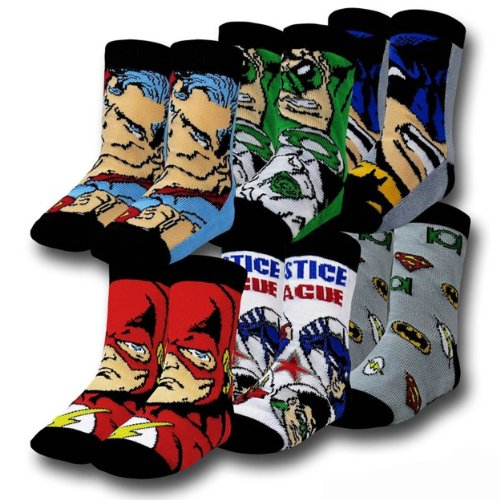 DC Comics Justice League 6 Pack Toddler Crew Socks (3T/4T)
