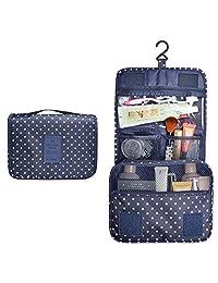 alwaysig Bolsa de Viaje Cosmético Maquillaje Portátil Multifunción, Bolso del almacenaje del almacenaje del bolso de la toalla con el gancho colgante para viajar (Azul Oscuro)