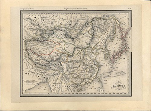China Chinese Empire Japan Tibet Korea Tartary c.1850 old antique color map