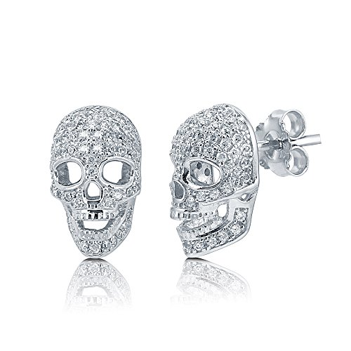 (BERRICLE Rhodium Plated Sterling Silver Cubic Zirconia CZ Skull Bones Fashion Stud Earrings)