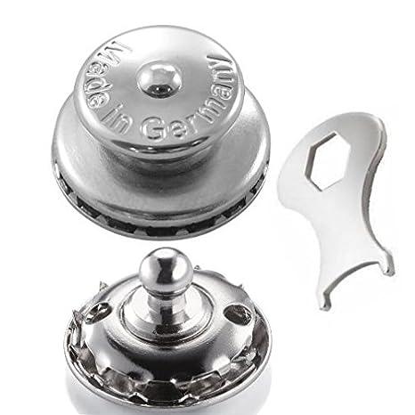LOXX Edelstahl Messing Oberteil Druckknopf Verschluss Knopf Boot Cabrio Verdeck