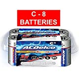 Acdelco C Alkaline Batteries In Reclosable Storage Box, 8 Count