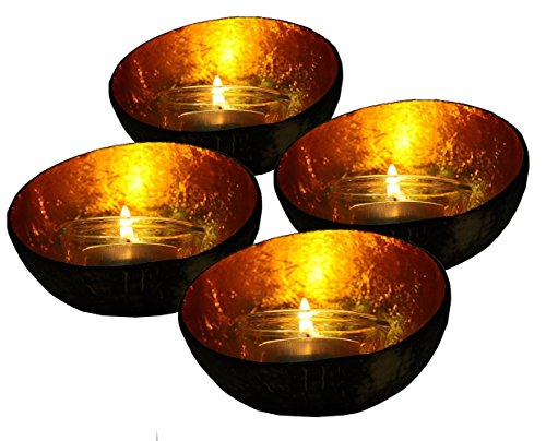 Exotic Elegance Set of 4 Glowing Candle Holder From Coconut Shell and Golden Leaf.