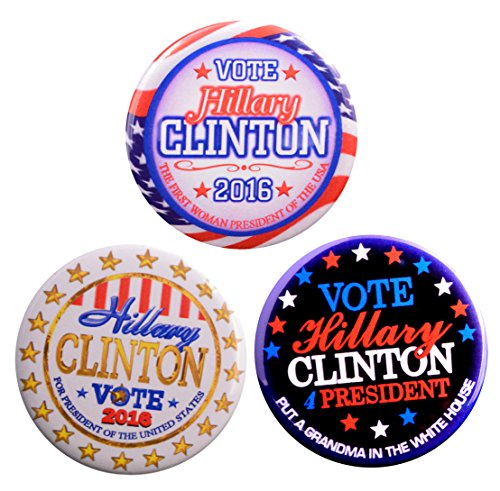 Pack-3 Hillary Clinton Variety Buttons-First Woman President + Hillary Gold + Grandma