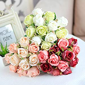 12Pcs Artificial Rose Bouquet Decorative Silk Flowers Bride Bouquets for Wedding Home Party Decoration Wedding Supplies 12pcs Beige 3
