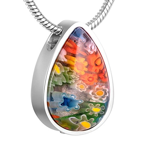 Murano+Glass+Teardrop+Cremation+Necklace+Stainless+Steel+Ashes+Keepsake+Memorial+Jewelry+%28Green%29