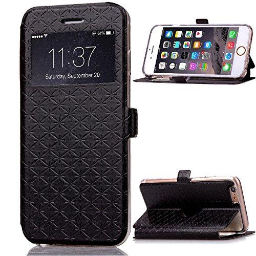 JIALUN-carcasa de telefono Funda de iPhone 6 6S, cuadrado enrejado del patrón del enrejado Caja de ventana del cuero de la PU Funda de TPU suave en funda del soporte con ranura para tarjeta para iPhon Black