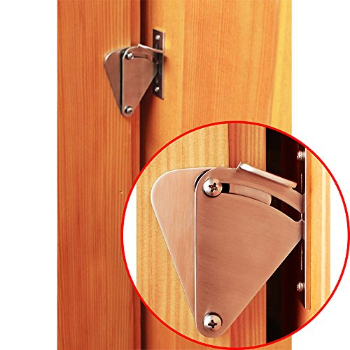 Hahaemall Small Stainless Steel Lock Set for Sliding Barn Wooden Door Gate Garage Shed Door Brushed Satin Latch (1pc Mini Stainless Steel Lock) (Door Sliding Small)