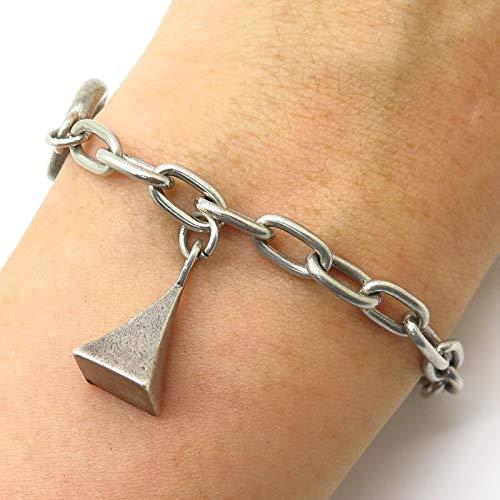VTG 925 Sterling Silver Dangling Pyramid Charm Toggle Bracelet 6.5