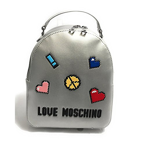 small backpack Pixel Love Moschino white qwRtzzX