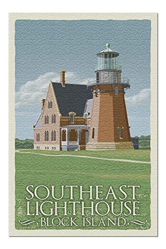 Block Island, Rhode Island - South East Lighthouse - Letterpress (20x30 Premium 1000 Piece Jigsaw Puzzle, Made in USA!)
