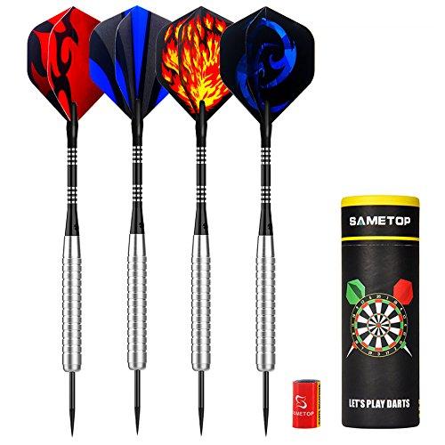 Sametop 12 Packs Steel Tip Darts Set 22 Grams with Flights, Aluminum Shafts, Nickel Silver Barrels and Dart Sharpener