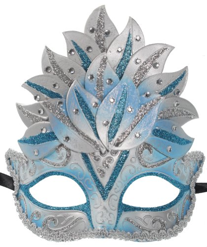 RedSkyTrader Womens Glitter Crown Mask One Size Fits Most Blue And Silver (Male Glitter Mardi Gras Mask)