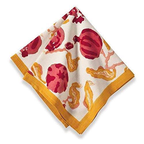 Couleur Nature Pomegranate Napkins, 19-inches by 19-inches, Yellow, Set of 6