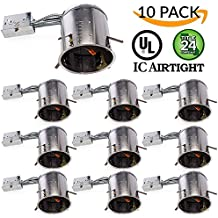 """Sunco Lighting 10 PACK - 6"""" inch Remodel LED Can Air Tight IC Housing LED Recessed Lighting- UL Listed and Title 24 Certified, TP24"""