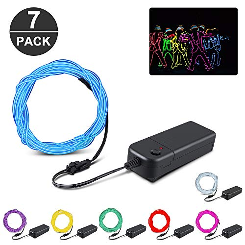 KOMAKE EL Wire, 9ft Neon Lights 7 Pack EL Wire Kit Neon Glowing Strobing Electroluminescent Wire for Halloween Christmas Party Decoration Home (Green, Blue, Red, Yellow, Purple, White, Pink) (7 Pack) (Strobing Christmas Lights)