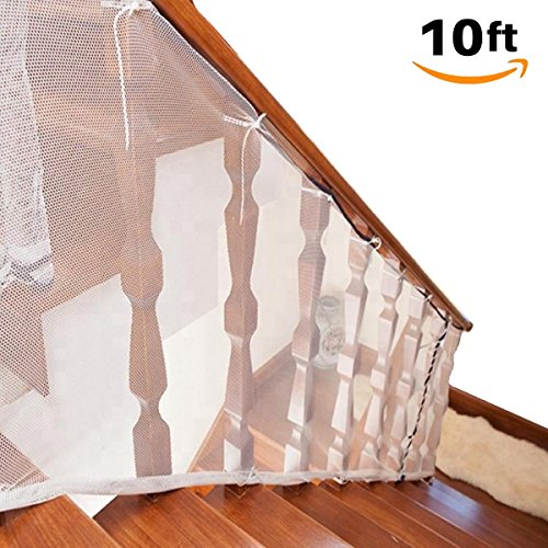 Fence See No Pet - Stair Railing & Banister Guard Netting – 10ft L x 2.5ft H Guard Rail – Indoor & Outdoor, Balcony & Stairway Deck Railing Safety Net – Banister Stairwell Mesh – Baby & Child Safety; Pet Safety; Stairs