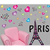 Paris Wall Decals / Paris Wall Stickers Theme with Eiffel Tower Wall Decals with 30 Multicolored and Leopard Print Heart Wall Stickers