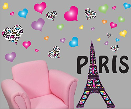 (Paris Wall Decals / Paris Wall Stickers Theme with Eiffel Tower Wall Decals with 30 Multicolored and Leopard Print Heart Wall Stickers)