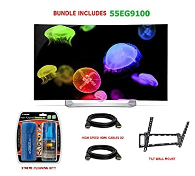 LG 55EG9100 - 55-Inch Full HD 1080p Curved OLED 3D TV Essentials Bundle includes 55-Inch HD Curved OLED 3D TV, Screen Cleaning Kit, Microfiber Cloth, 2 HDMI Cables and Surge Protector with USB Ports