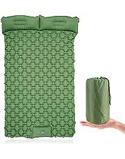 Dubbele slaapmat opblaasbare camping pad voor 2 personen met voetpers kussen lichtgewicht backpacken mat wandelen reizen camping waterdichte compacte tent luchtmatras