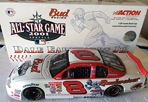2001 Clear Window Bank Car Dale Earnhardt Jr #8 MLB Budweiser All Star Game (Won Daytona Summer Race in 2001 Same Year his father died at Daytona) 1/24 Scale Hood Opens, Action Racing Collectables ()
