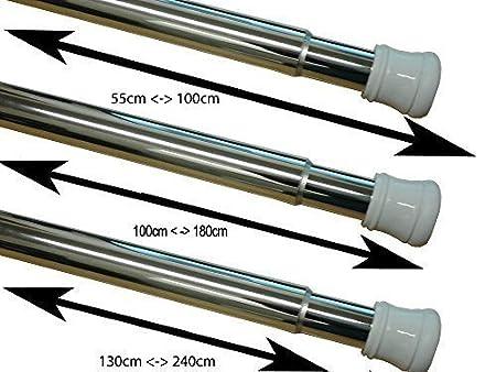 Telescopic Extendable Chrome Shower Curtain Pole Rod Rail 55 100cm 130 240cm