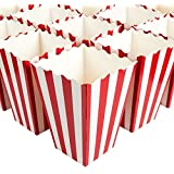 Set of 100 Popcorn Favor Boxes - Paper Popcorn Containers, Popcorn Party Supplies for Movie Nights, Movie-Themed Parties, Carnival Parties, Pirate Party, Red and White - 4.25 x 6.2 x 4.25 Inches