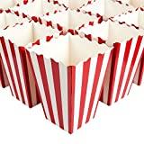 popcorn and candy holder - Set of 100 Popcorn Favor Boxes - Paper Popcorn Containers, Popcorn Party Supplies for Movie Nights, Movie-Themed Parties, Carnival Parties, Pirate Party, Red and White - 4.25 x 6.2 x 4.25 Inches