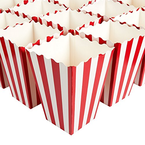 Set of 100 Popcorn Favor Boxes - Paper Popcorn Containers, Popcorn Party Supplies for Movie Nights, Movie-Themed Parties, Carnival Parties, Pirate Party, Red and White - 3.7 x 7.8 x 3.7 Inches -