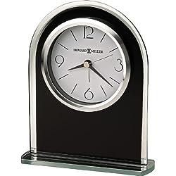 Howard Miller Ebony Luster Table Desk Clock in Black and Silver