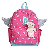 Lesley Ye Kids Backpack Carton School Cute Toddler Bags with Angel Wings (Pink)
