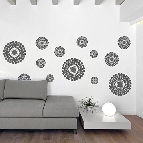 Gray Flowers Wall Decal - Flower Wall Stickers - Peel and Stick Wall Decals by Dooboe