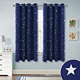 RYB HOME Patterned Silver Star Curtains Thermal Insulated Drapes with Grommet Top, Privacy Protect Window Treatment Drapies for Kids Room/Bedroom, Navy Blue, 52 x 63 Per Panel, Set of 2