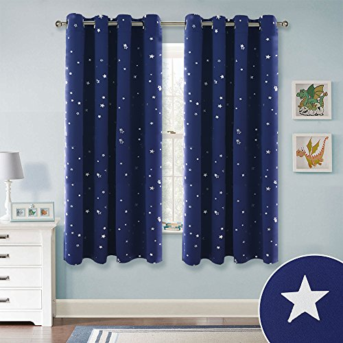 RYB HOME Patterned Silver Star Curtains Thermal Insulated Drapes with Grommet Top, Privacy Protect Window Treatment Drapies for Kids Room/Bedroom, Navy Blue, 52 x 63 Per Panel, Set of 2 by RYB HOME