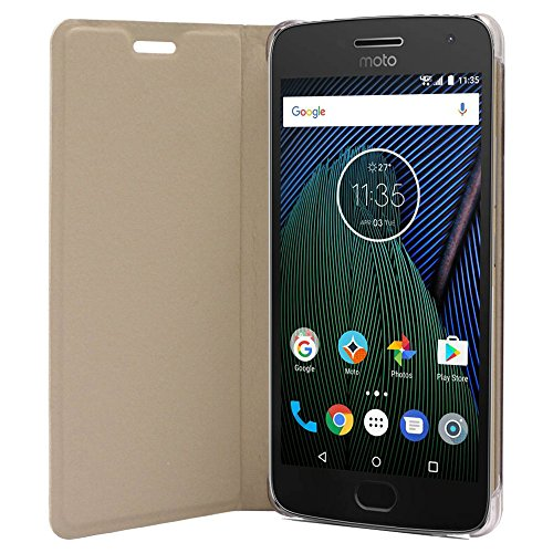 SDO™ Textured Leather Flip Cover for Moto G5 Plus  Gold