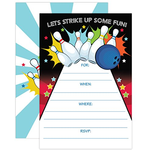 Bowling Party Invitation, Bowling Party Invite, Boy Birthday Invitation, 20 Fill In Mermaid Party Invitations With Envelopes ()