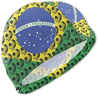 Gorras de natación de fútbol con bandera nacional de Brasil Gorra ...